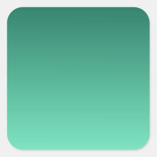 Castleton Green to Aquamarine Horizontal Gradient Square Sticker