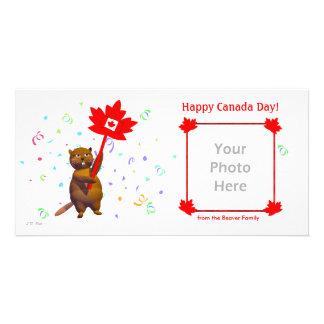 Castor heureux de jour du Canada Photocarte