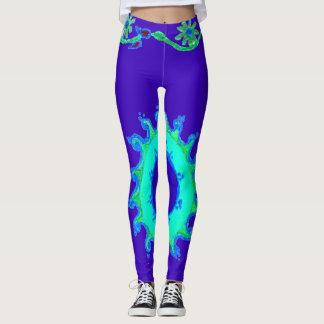 Casual aqua turquoise coral teal and cyan design leggings