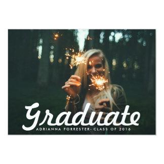 "Casual Bold Graduate Script Photo Graduation Party 5"" X 7"" Invitation Card"