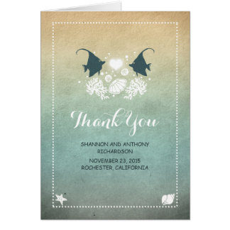 casual cute beach wedding thank you cards