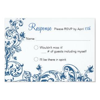 Casual Elegance Blue Swirl Wedding RSVP Card