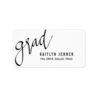 Casual Grad Typography Black Chic Label