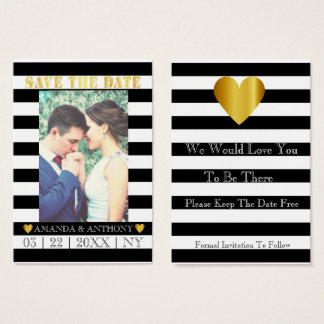 Casual informal striped save the date business card