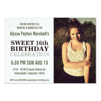 Casual Nature Portrait Photo Sweet 16 Party Card