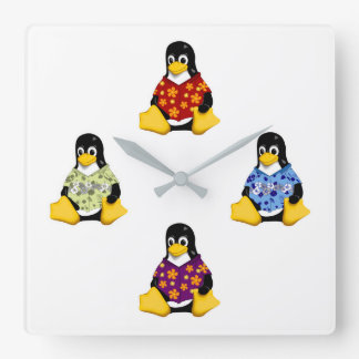 Casual Penguins Wall Clock