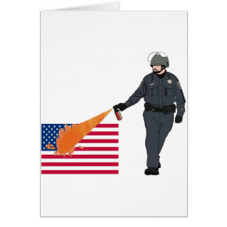 Casual Pepper Spray Cop with Flag in Color Greeting Card