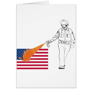 Casual Peppery Spray Cop with Flag Greeting Card