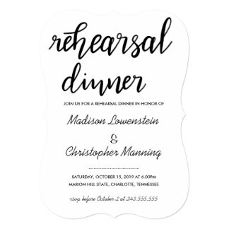 Casual Script Rehearsal Dinner Wedding Card