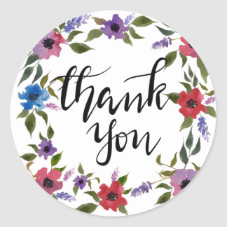 Casual Thank You Handwritten Watercolor Flowers Classic Round Sticker
