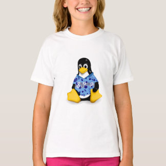 Casual Tux Blue Hibiscus Girls Tagless Jersey T-Shirt