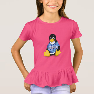 Casual Tux Hibiscus Girls Ruffle T-Shirt