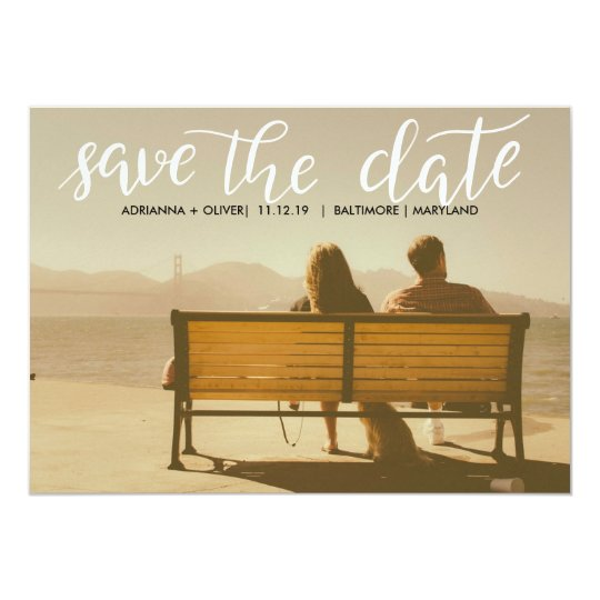 Casual  Wedding Save The Date Script Photo Card