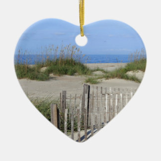 Caswell Beach, NC Land and Seascape Ceramic Heart Ornament