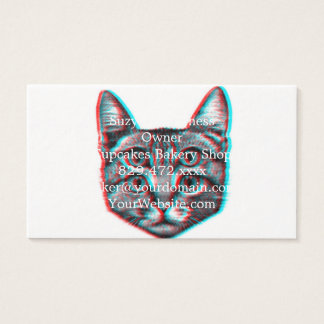 Cat 3d,3d cat,black and white cat business card