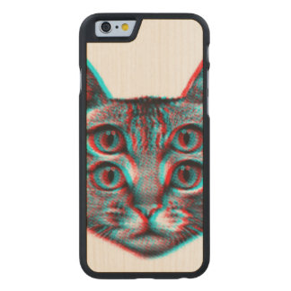 Cat 3d,3d cat,black and white cat carved maple iPhone 6 case