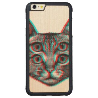 Cat 3d,3d cat,black and white cat carved maple iPhone 6 plus bumper case