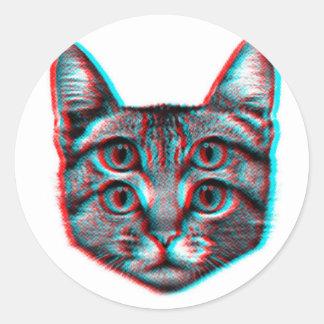 Cat 3d,3d cat,black and white cat classic round sticker