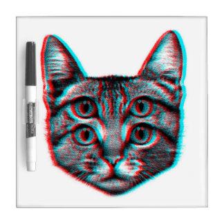 Cat 3d,3d cat,black and white cat dry erase board