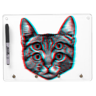 Cat 3d,3d cat,black and white cat dry erase board with keychain holder