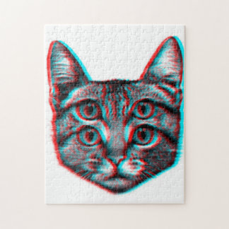 Cat 3d,3d cat,black and white cat jigsaw puzzle