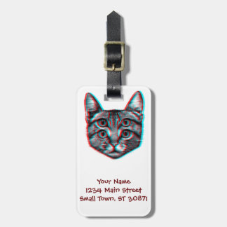 Cat 3d,3d cat,black and white cat luggage tag