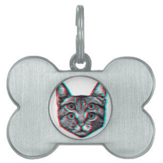 Cat 3d,3d cat,black and white cat pet ID tag