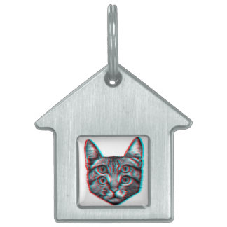 Cat 3d,3d cat,black and white cat pet tag