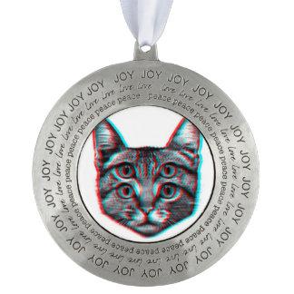 Cat 3d,3d cat,black and white cat pewter ornament