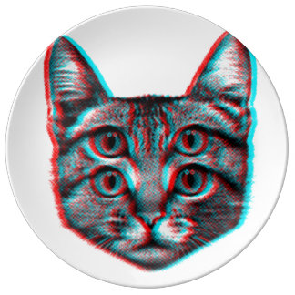 Cat 3d,3d cat,black and white cat plate