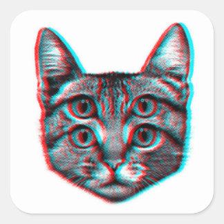 Cat 3d,3d cat,black and white cat square sticker