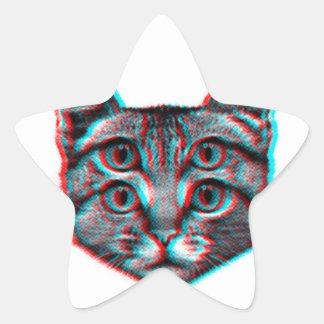 Cat 3d,3d cat,black and white cat star sticker
