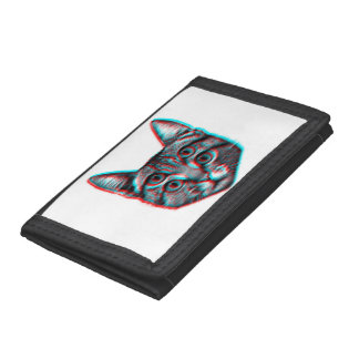 Cat 3d,3d cat,black and white cat tri-fold wallet