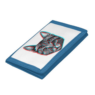 Cat 3d,3d cat,black and white cat trifold wallet