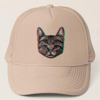 Cat 3d,3d cat,black and white cat trucker hat