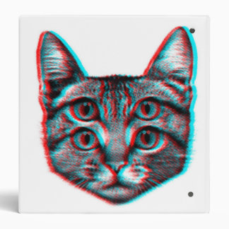 Cat 3d,3d cat,black and white cat vinyl binders