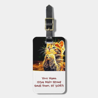 Cat 3d artworks luggage tag