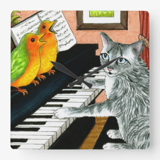 Cat 457 funny cat playing piano with Birds Square Wall Clock