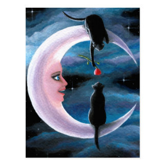 Cat 581 black Cats on Moon Postcard