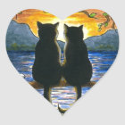 Cat 582 black cats heart sticker