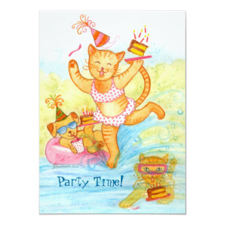 "Cat 5th Birthday Pool Party 4.5"" X 6.25"" Invitation Card"