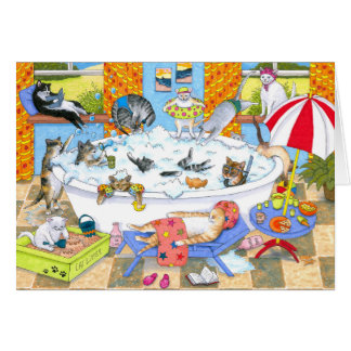 Cat 601 Funny cats in bath Card