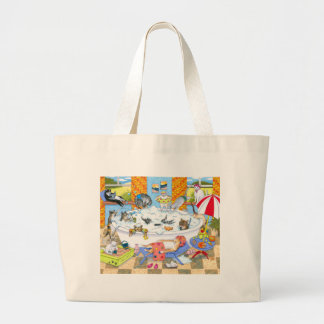 Cat 601 funny cats in bath large tote bag