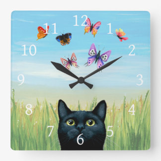 Cat 606 butterflies nature background square wall clock