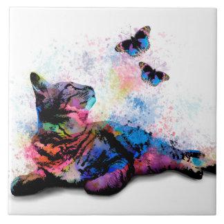 Cat 614 blue pink butterfly 6x6 tile