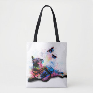 Cat 614 blue pink butterfly tote bag
