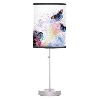 Cat 614 butterfly blue pink table lamp