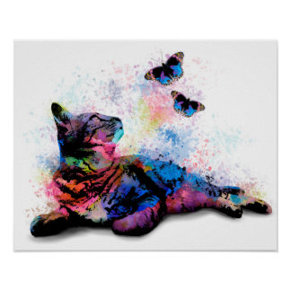 Cat 614 butterfly poster