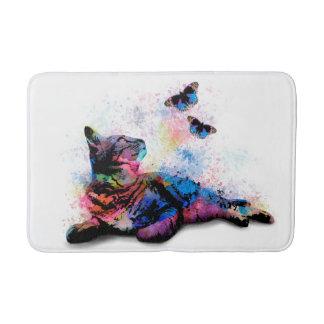 Cat 614 pink blue butterfly bath mat