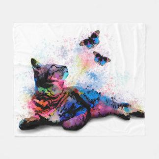 Cat 614 pink blue butterfly fleece blanket